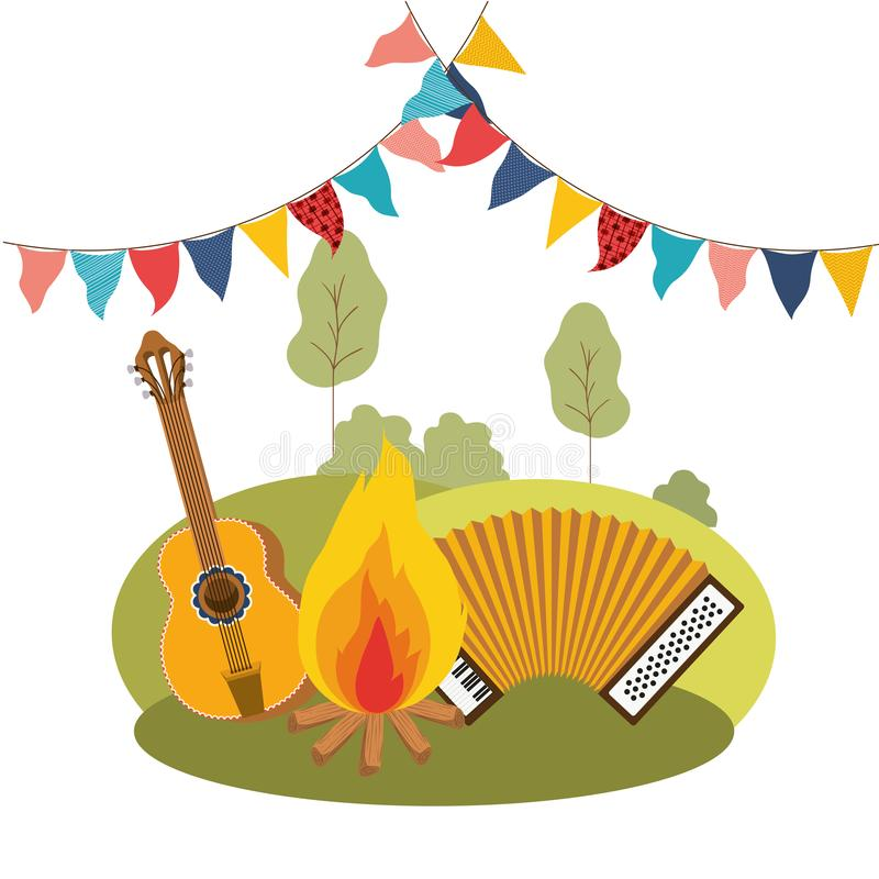 Guitar and accordion isolated icon. Vector illustration design stock illustration