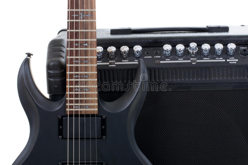 Guitar Amplifier And Electric-guitar Royalty Free Stock Images