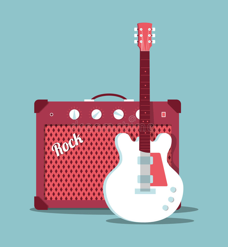 Guitar and amplifier royalty free illustration