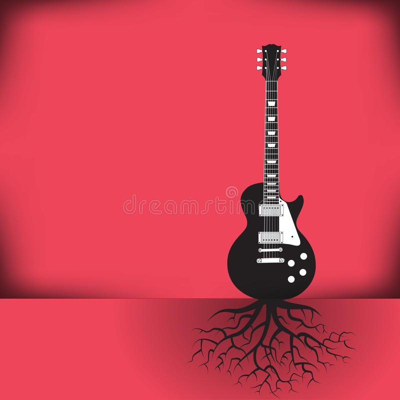 A guitar as a tree with roots background vector illustration