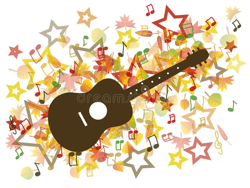 Guitar and Autumn leaves illustration royalty free illustration