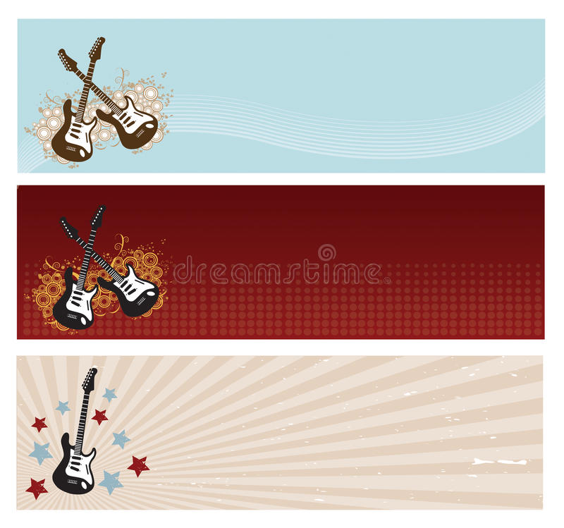 Guitar Banners stock illustration