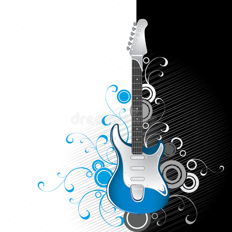 Download Guitar on black and white stock vector. Image of design - 3455848