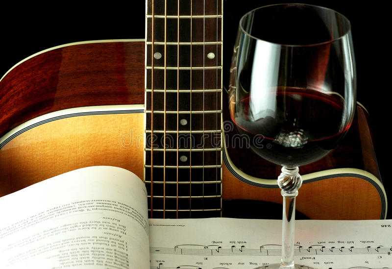 Download Guitar, Book And Wineglass Royalty Free Stock Images - Image: 11756219