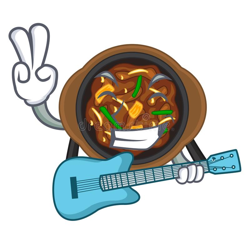 With guitar bulgogi in the a cartoon shape. Vector illustration royalty free illustration