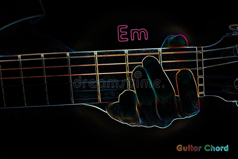 Guitar Chord On A Dark Background Stock Illustration - Illustration ...