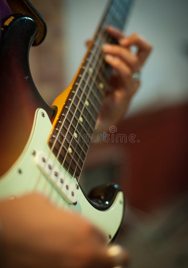 Guitar Chords Detail With Human Hands Playing Stock Image - Image of ...