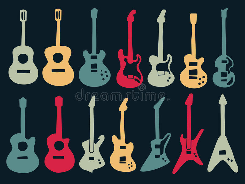 Guitar colorful icons in variety style. Guitar drawing with colorful icons in variety style including acoustic, classic and electric type royalty free illustration