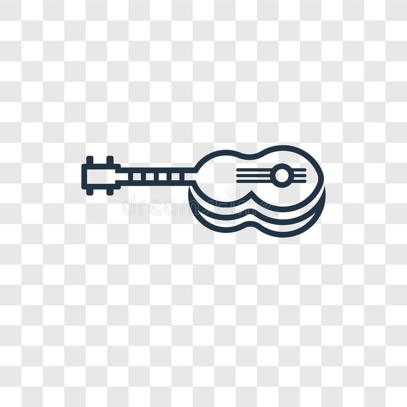 Guitar concept vector linear icon isolated on transparent background, Guitar concept transparency logo in outline style. Guitar concept vector linear icon royalty free illustration
