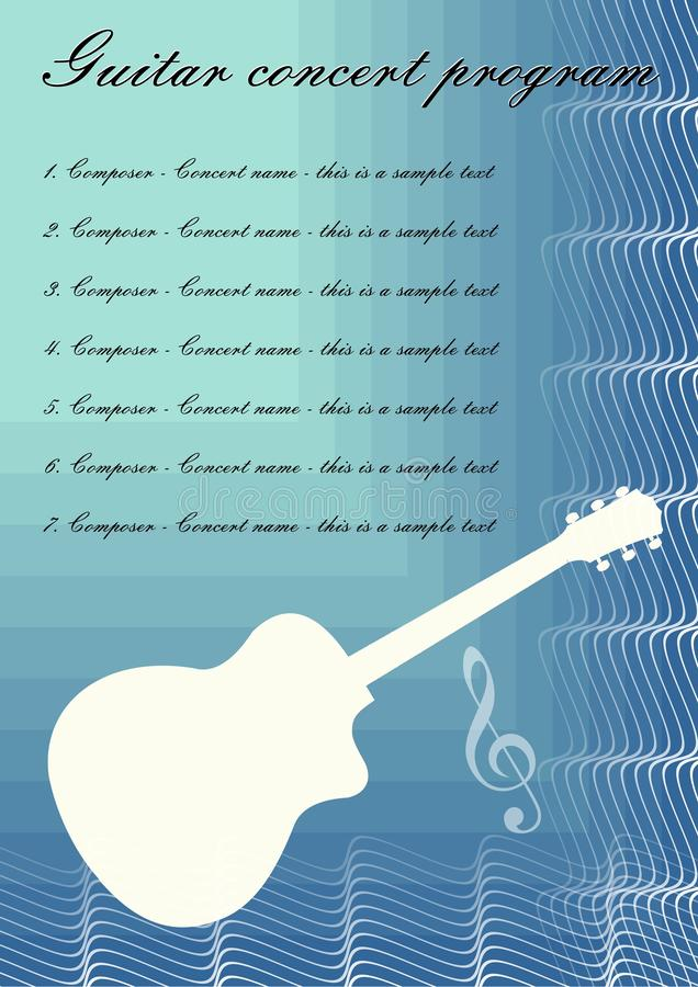 Guitar concerts program template with white guitar silhouette, sample text on blue abstract background, calligraphic royalty free illustration