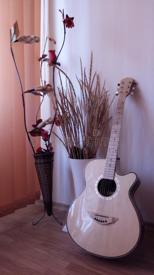 Guitar. In the corner of the room royalty free stock images