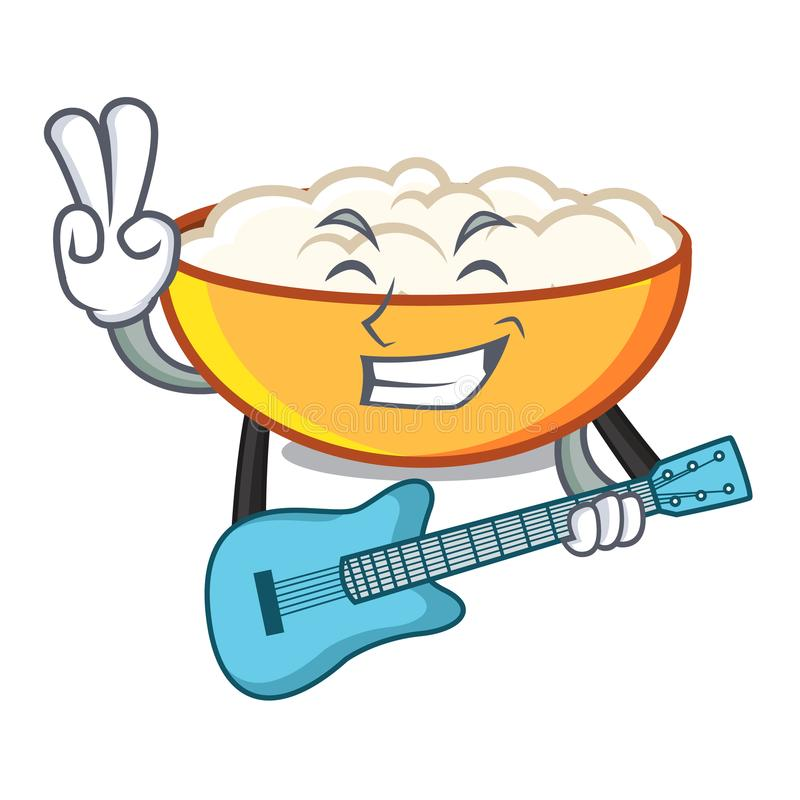 With guitar cottage cheese mascot cartoon. Vector illustration royalty free illustration