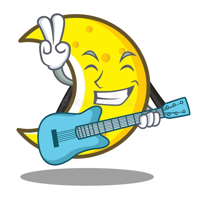 With guitar crescent moon character cartoon. Vector illustration stock illustration