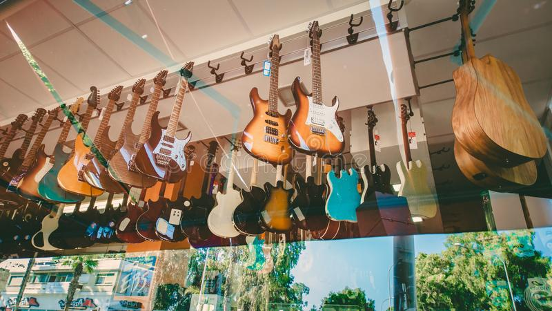 Guitar in the Cyprus shop, Limassol, Cyprus, 04 august 2017 stock photos