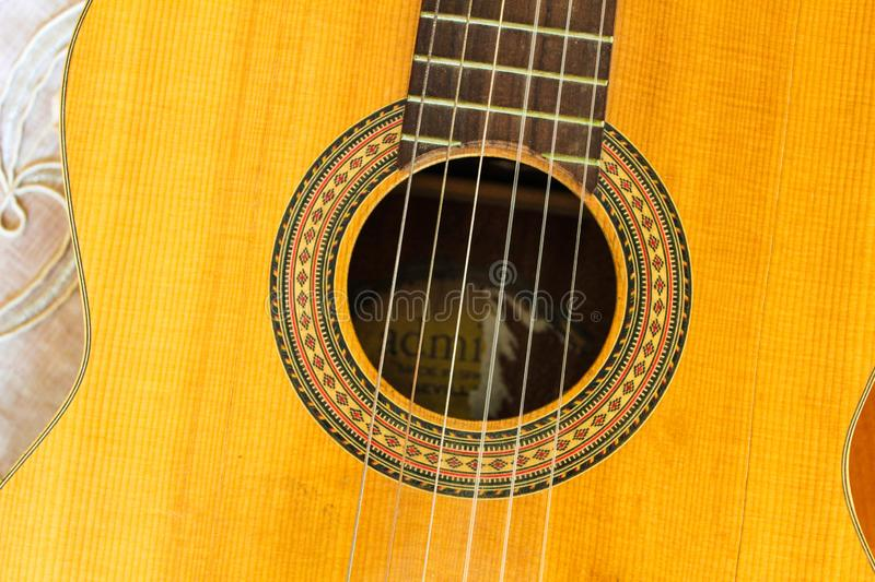Guitar Detail Instrument Image Wooden. Design Sound Part Background Acoustic royalty free stock image