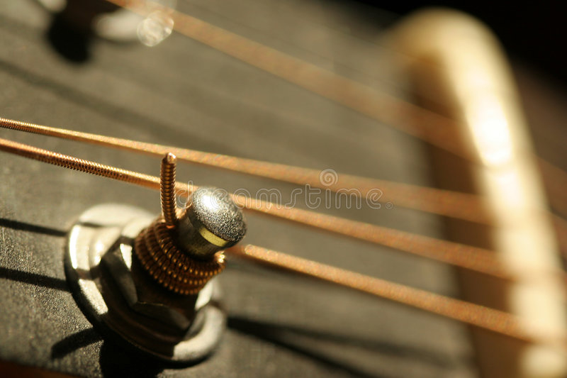 Guitar detail. String and knob detail close up of a guitar stock images