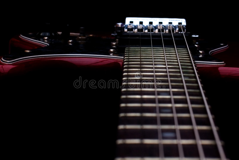 Guitar detail. A guitar detail of a electric guitar stock photo