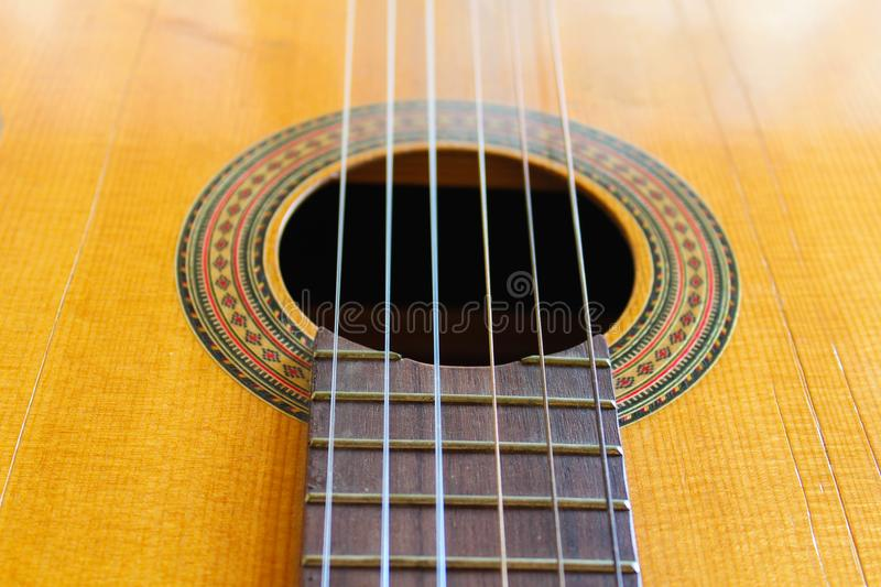Guitar Detail Acoustic Traditional Folk. Guitar Detail Classic Entertainment String Part Country Style Object Wooden stock photos