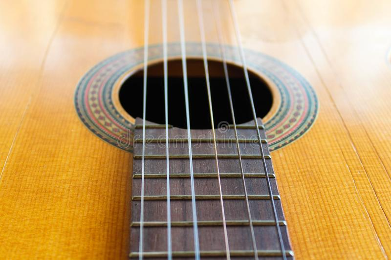 Guitar Detail Traditional Retro Western. Guitar Detail Traditional Retro Flamenco Western Wooden Accoustic Art Classical royalty free stock photo