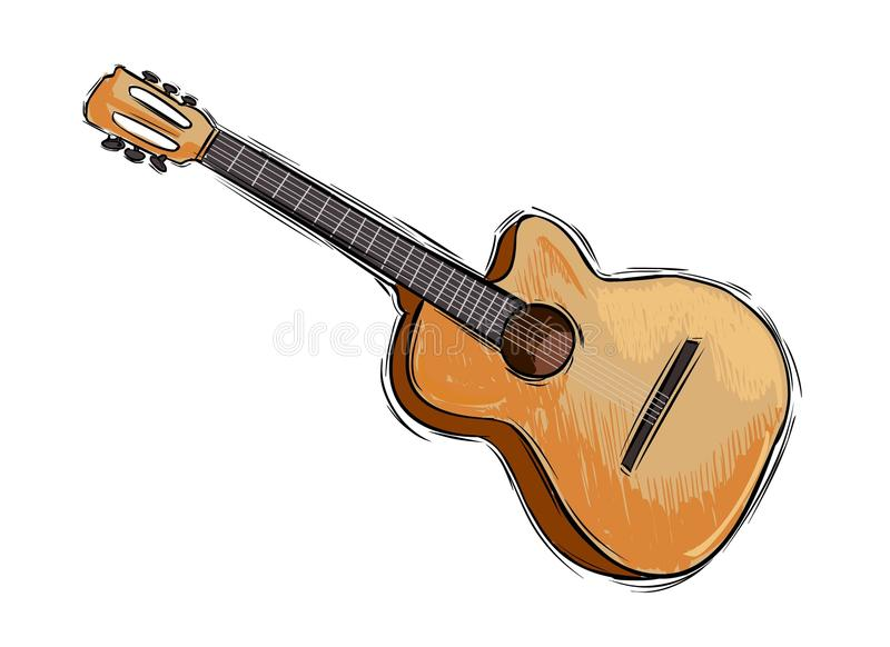 Contour Line Drawing Guitar : Guitar drawing stock vector illustration of isolated