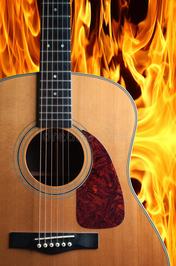 Download Guitar on fire stock photo. Image of roll, equipment - 24566506