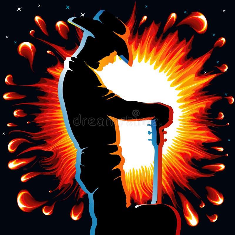 Guitar flame. Guitarist on fire flame on black backgorund vector illustration