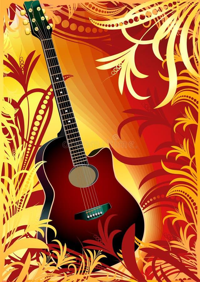 guitar on floral background royalty free illustration
