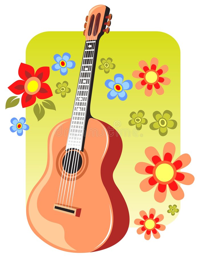 Guitar and flowers vector illustration
