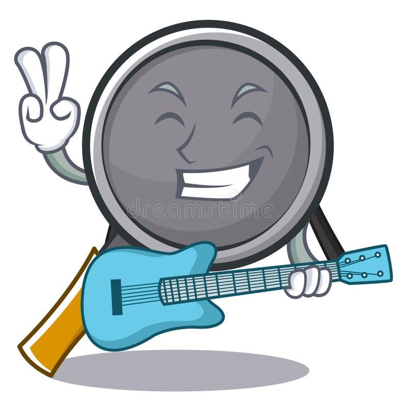 With guitar frying pan cartoon character. Vector illustration vector illustration