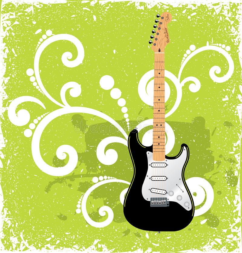 Guitar on green vintage background stock photo