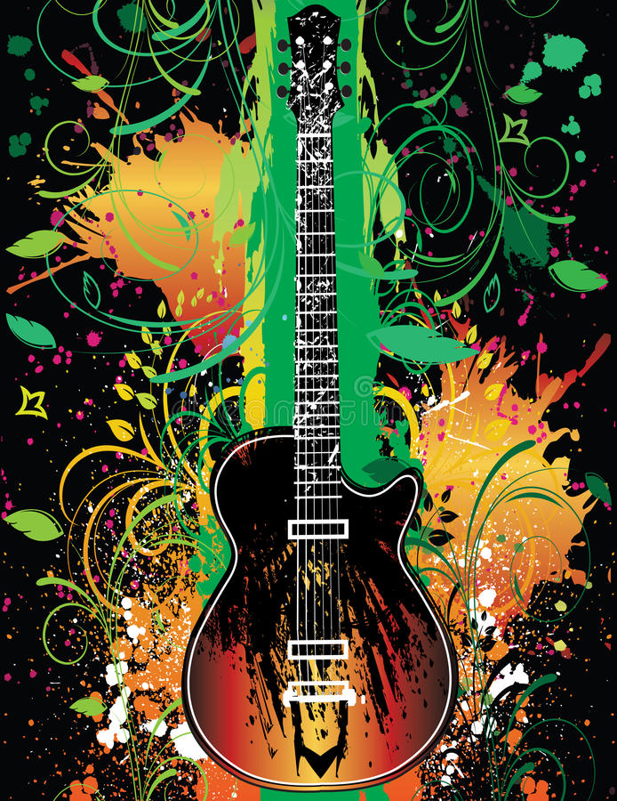 Guitar On Grunge Floral stock photos