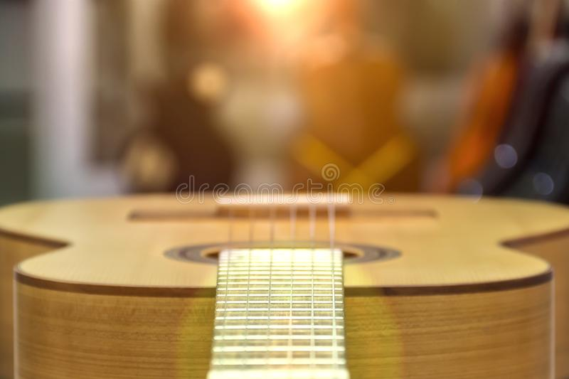 Guitar of a guitar close-up in horizontal position, soft focus royalty free stock photos