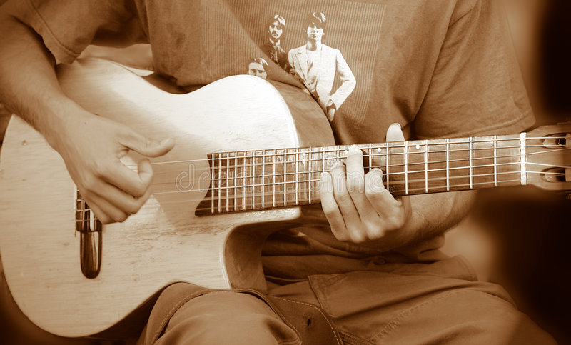 Download Guitar Guy stock photo. Image of jazz, shadow, jeans, acoustic - 65142