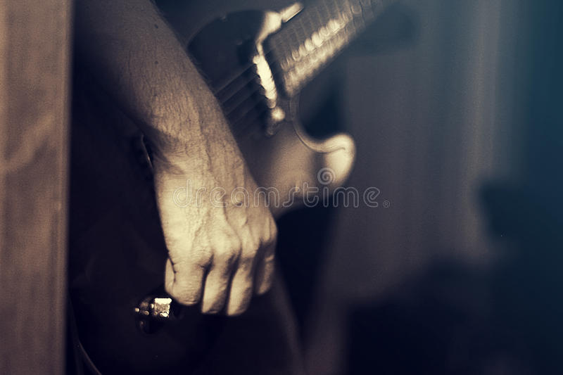 Guitar With Hand stock photo