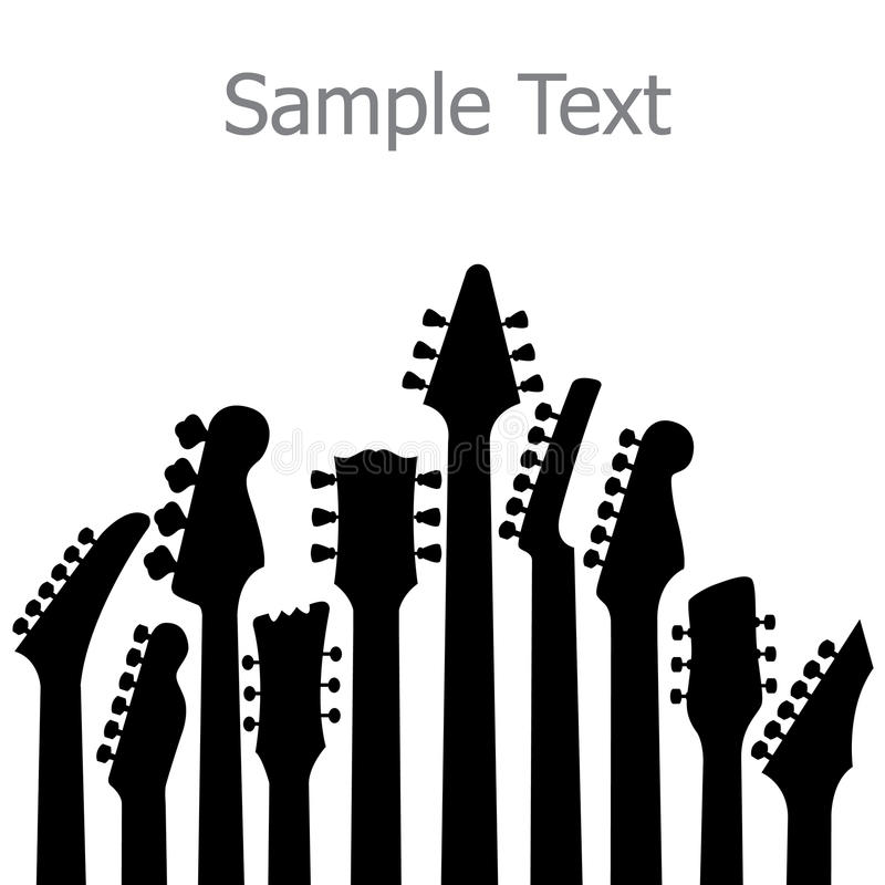 Guitar handles. Silhouettes of various guitar handles. Isolated against a white background. Room for copy or text. Vector format available vector illustration