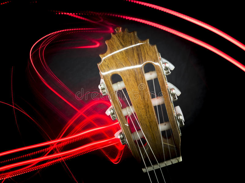 Download Guitar Head And Abstract Red Lights Stock Image - Image of guitar, stock: 90640093