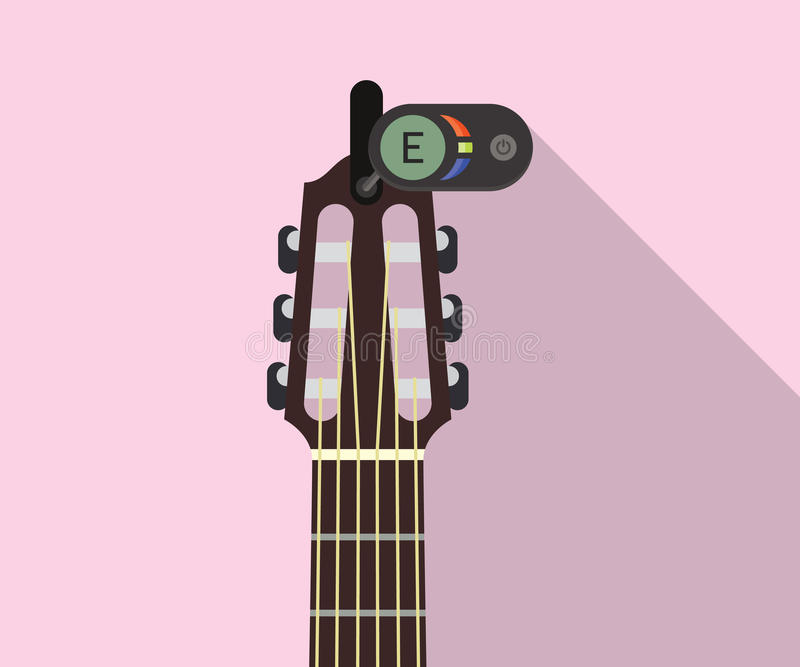 guitar headstock with electric tuner for perfect pitch flat long shadows illustration stock. Black Bedroom Furniture Sets. Home Design Ideas