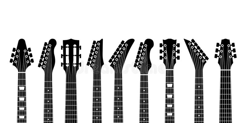 Guitar headstocks. Acoustic and rock electric guitars heads. Outline musical instrument, minimal abstract music symbols. Vector black silhouette of modern royalty free illustration