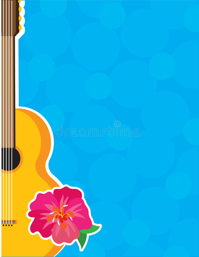 Guitar Hibiscus stock illustration