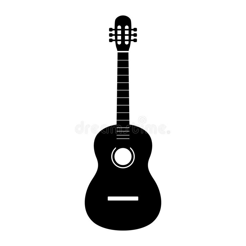 Guitar icon vector, Acoustic musical instrument sign Isolated on white background. Trendy Flat style for graphic design vector illustration