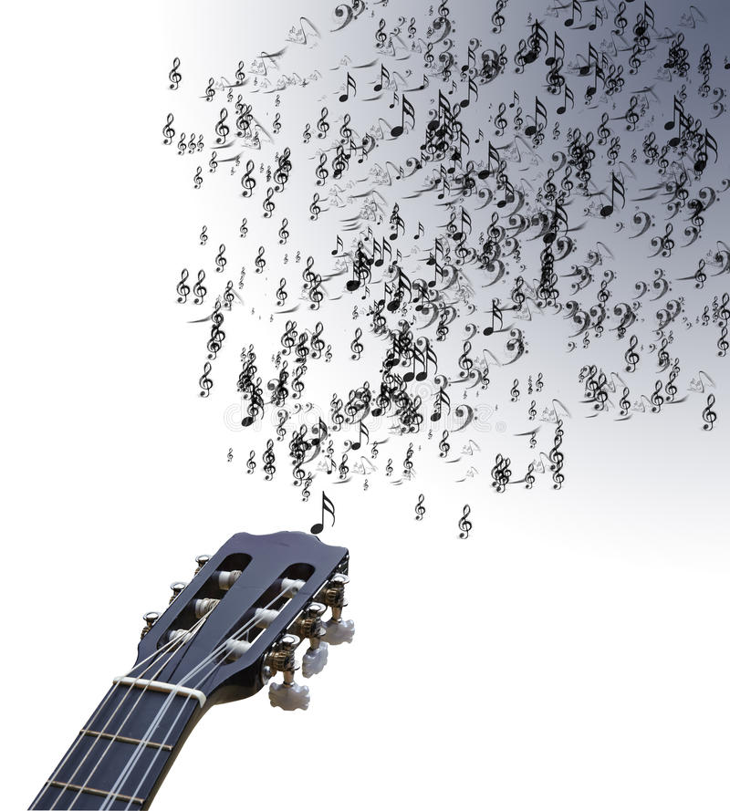 Guitar isolated on white with musical notes. Lovely background image of musical notes coming out of guitar strings onto isolated white background stock photo