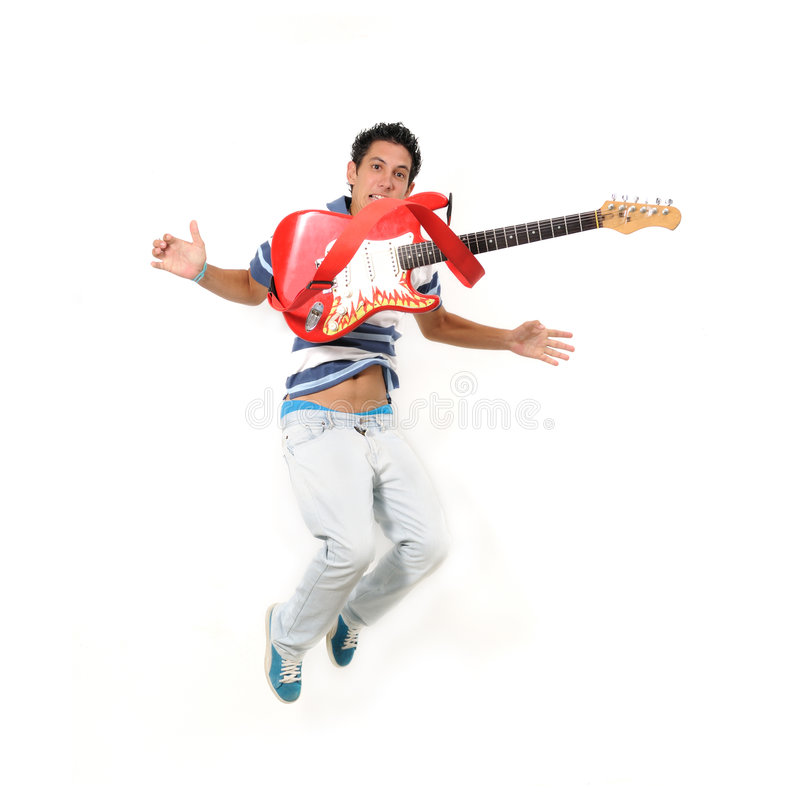 Guitar jump. Portrait of trendy teen jumping with electric guitar - isolated stock photos