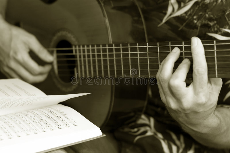 Guitar lessons royalty free stock photo