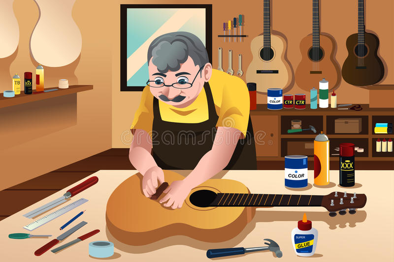 Guitar maker working in his shop. A vector illustration of guitar maker working in his workshop stock illustration