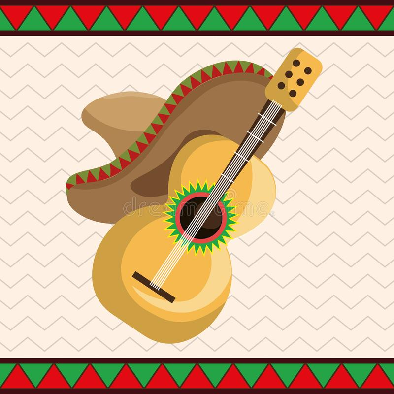 Guitar with mexican hat icons. Vector illustration design vector illustration