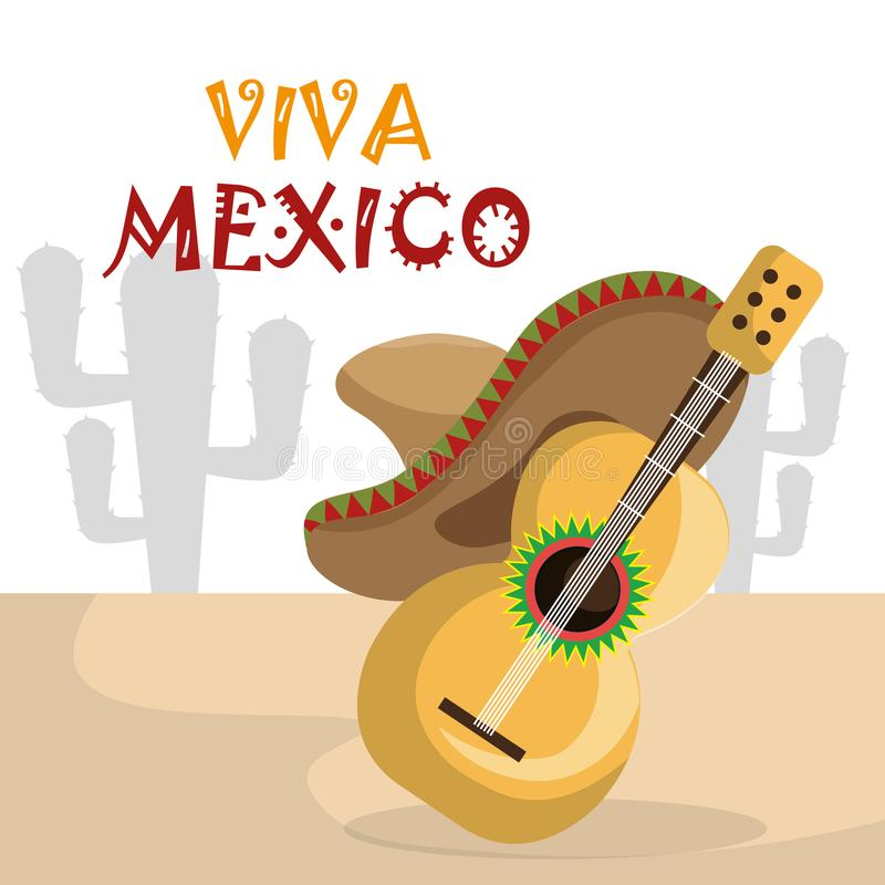 Guitar with mexican hat icons. Vector illustration design stock illustration