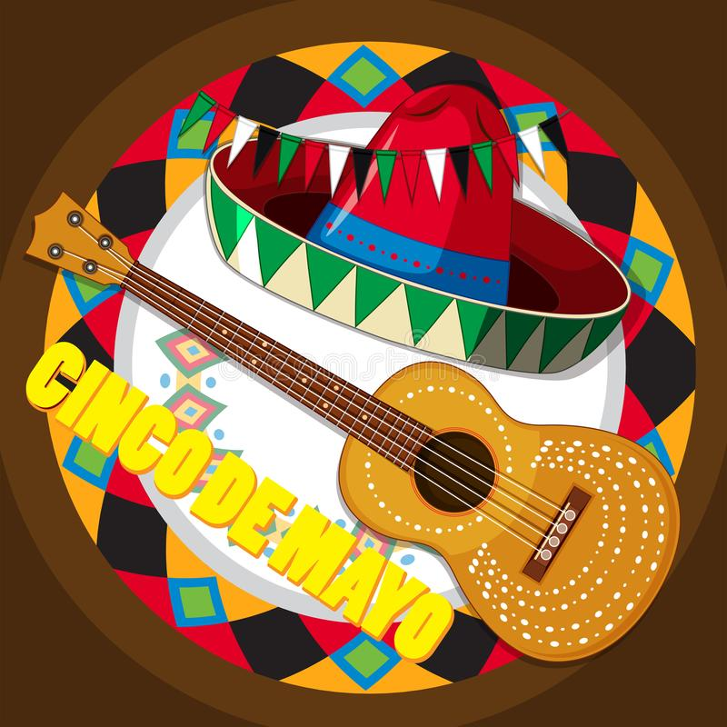 Guitar and mexican hat on round background. Illustration vector illustration