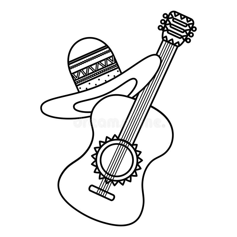 Guitar with mexican hat. Vector illustration design royalty free illustration