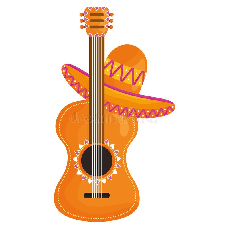 Guitar with mexican hat. Vector illustration design vector illustration