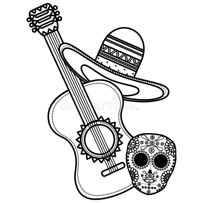 Guitar with mexican hat. Vector illustration design stock illustration